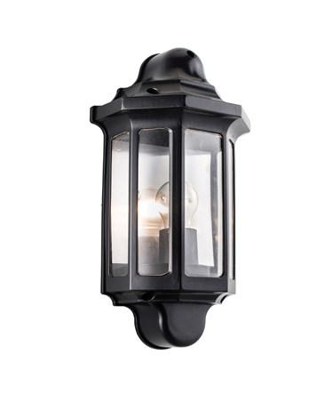 Endon Traditional Half Lantern 60W Outdoor Wall Light - Black - IP44