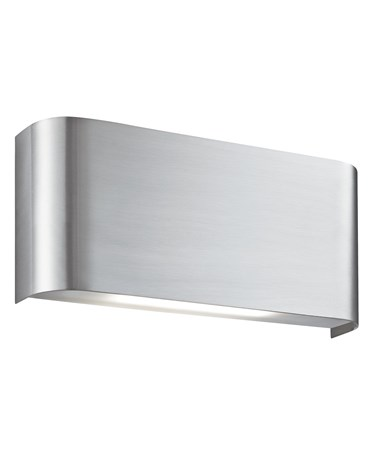 Searchlight Curved Oblong Led Up & Down Wall Light - Satin Silver -2 Led