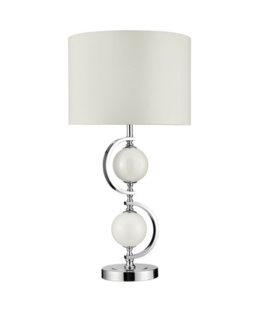 Searchlight Chrome Table Lamp With White Glass Balls & Drum Shade