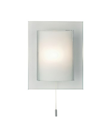 Endon Cabot Wall Light - Pull Cord Switch - Clear & Frosted Glass