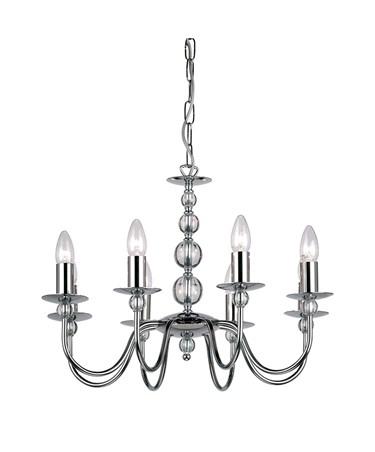 Endon Parkstone Pendant Light Fitting - Chrome & Glass - 8 Light