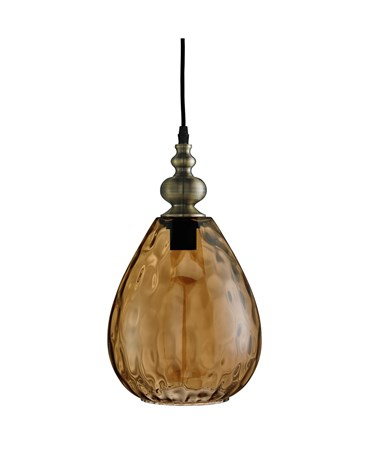 Searchlight Indiana Single Pendant - Tapered Amber Dimpled Glass Shade
