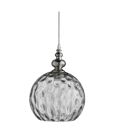 Searchlight Indiana Globe Pendant - Satin Silver - Clear Dimpled Glass Shade