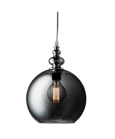 Searchlight Indiana Single Globe Pendant - Chrome - Smokey Glass Shade