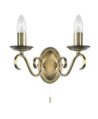 Endon Bernice Wall Light - 2 Light - Antique Brass