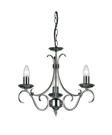 Endon Bernice Traditional Pendant Light Fitting - Antique Silver - 3 Light