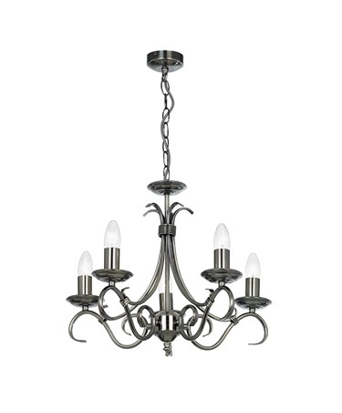 Endon Bernice Traditional Pendant Light Fitting - Antique Silver - 5 Light