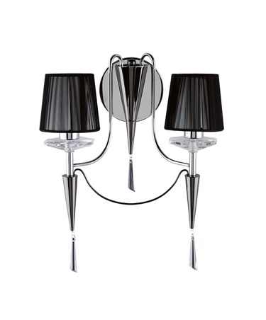 Searchlight Duchess Double Wall Light - Chrome - Black String Shades