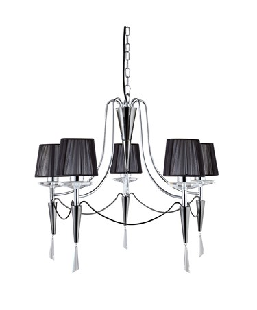 Searchlight Duchess Ceiling Pendant - 5 Light - Chrome - Black String Shades
