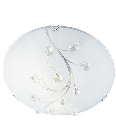 Searchlight Flush Ceiling Light - White Glass - Crystal Decoration - 30Cm