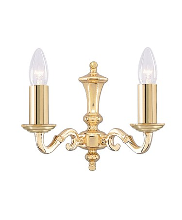 Searchlight Seville Solid Polished Brass Double Wall Light - Candles - No Glass