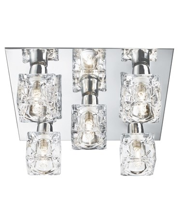 Searchlight Cool Ice 5 Light Square Ceiling Light - Chrome - Ice Cube Glass