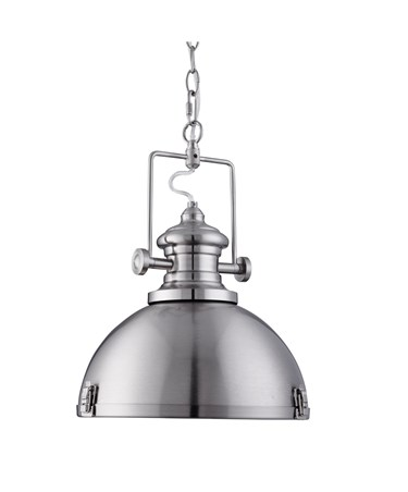 Searchlight Industrial Chain Pendant Light - Acrylic Diffuser - Satin Silver