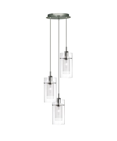 Searchlight Duo I - 3 Light Multi-Drop Ceiling Pendant - Double Glass