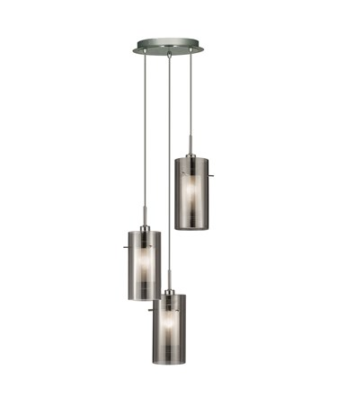 Searchlight Duo 2 - 3 Light Ceiling Multi-Drop With Smokey/Frosted Glass Shades