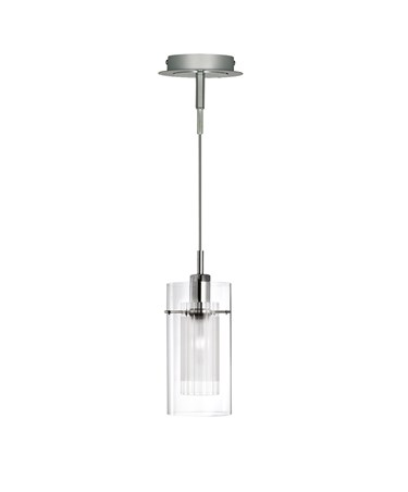 Searchlight Duo I - Satin Silver Double Glass Pendant Light