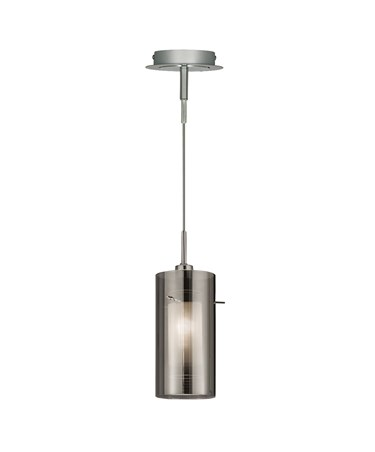 Searchlight Duo 2 Pendant - Smokey Outer/Frosted Inner Glass Shades