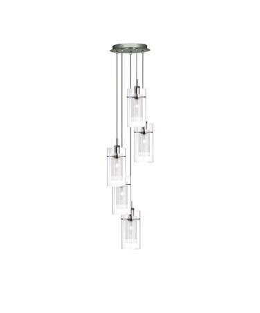 Searchlight Duo I - 5 Light Multi-Drop Ceiling Pendant - Double Glass