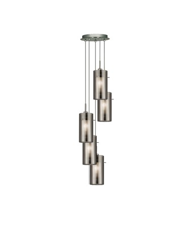 Searchlight Duo 2 - 5 Light Ceiling Multi-Drop With Smokey/Frosted Glass Shades
