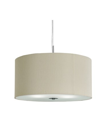 Searchlight Drum Pleat Pendant Light - Cream With Frosted Glass Diffuser - 40Cm