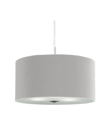 Searchlight Drum Pleat Pendant Light - Silver With Frosted Glass Diffuser - 40Cm