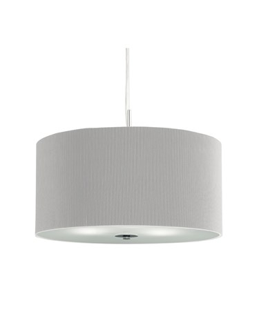 Searchlight Drum Pleat Pendant Light - Silver With Frosted Glass Diffuser - 60Cm