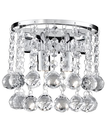 Searchlight Hanna 2 Light Wall Light - Chrome Square - Clear Crystal Balls