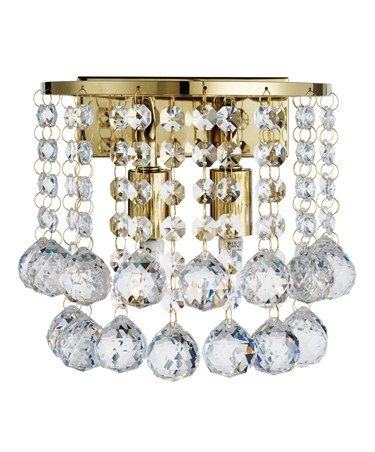 Searchlight Hanna 2 Light Wall Light - Gold Square - Clear Crystal Balls