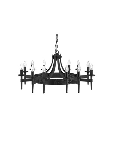 Searchlight Cartwheel 12 Light Pendant - Matt Black Wrought Iron Effect
