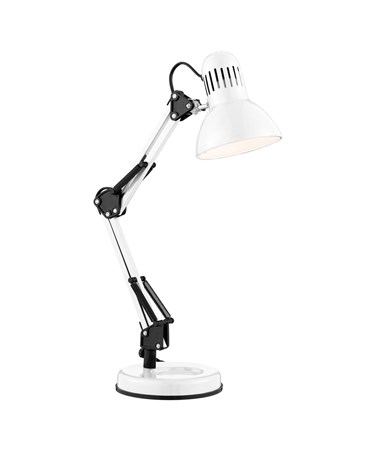Searchlight Desk Partners - Shiny White Hobby Table Lamp