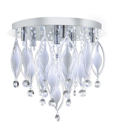 Searchlight Spindle Remote Control 6 Light Flush Ceiling Fitting - Chrome&Glass