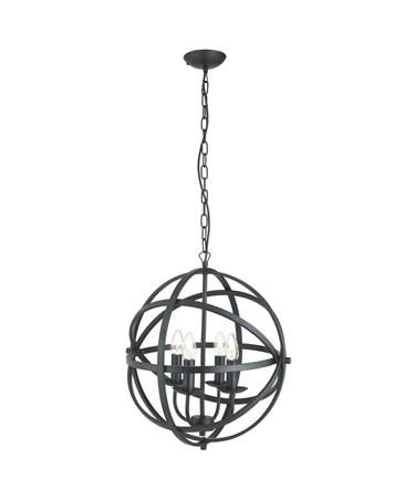 Searchlight Orbit Cage Frame Orb Pendant - Candle 4 Light - Matt Black