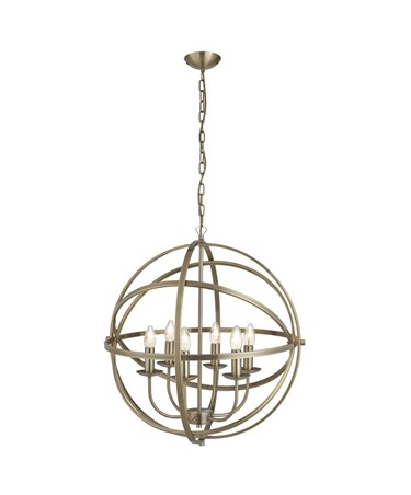 Searchlight Orbit Cage Frame Orb Pendant - Candle 6 Light - Antique Brass