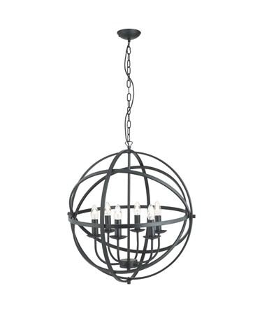 Searchlight Orbit Cage Frame Orb Pendant - Candle 6 Light - Matt Black