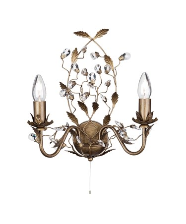 Searchlight Almandite Wall Light - 2 Light - Golden Leaves And Clear Crystal