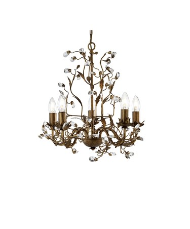 Searchlight Almandite Ceiling 5 Light - Golden Leaves And Clear Crystal