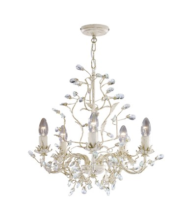 Searchlight Almandite Ceiling 5 Light - Cream Gold Leaves And Clear Crystal