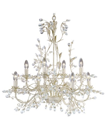 Searchlight Almandite Ceiling 8 Light - Cream Gold Leaves And Clear Crystal