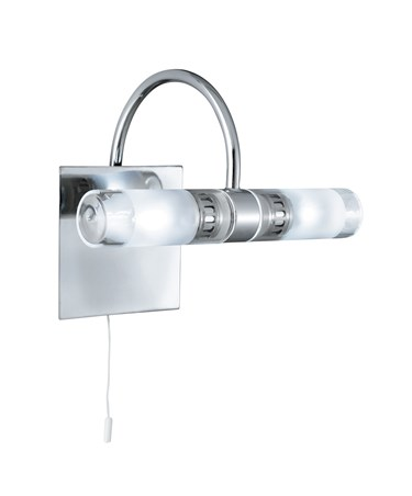 Searchlight Bathroom 2 Light - Chrome Mirrored Backplate - Clear & Frosted Glass