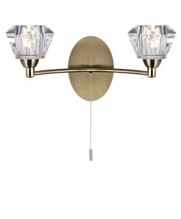 Searchlight Sierra Double Wall Light - Antique Brass - Sculptured Glass Shades