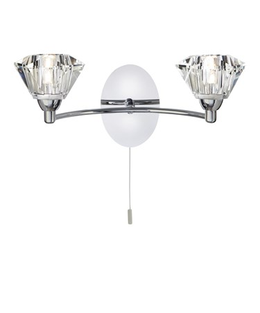 Searchlight Sierra Double Wall Light - Chrome - Sculptured Glass Shades