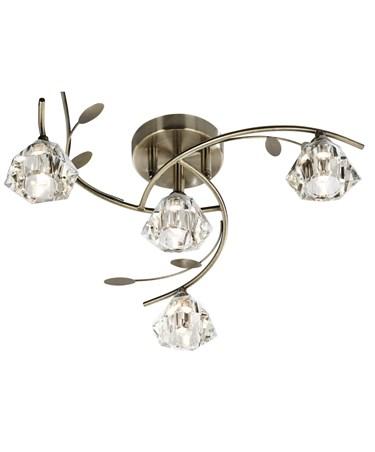 Searchlight Sierra Semi-Flush 4 Light - Antique Brass - Sculptured Glass Shades