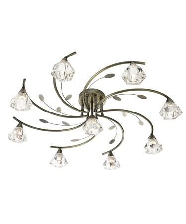 Searchlight Sierra Semi-Flush 9 Light - Antique Brass - Sculptured Glass Shades