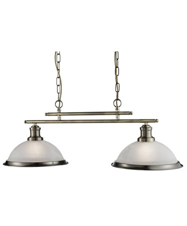 Searchlight Bistro 2 Light Industrial Ceiling Bar - Antique Brass