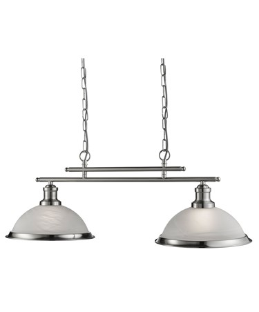 Searchlight Bistro 2 Light Industrial Ceiling Bar - Satin Silver