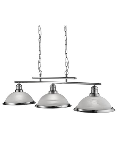 Searchlight Bistro 3 Light Industrial Ceiling Bar - Satin Silver