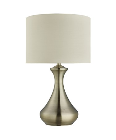 Searchlight Touch Table Lamp - Antique Brass - Fabric Cream Shade
