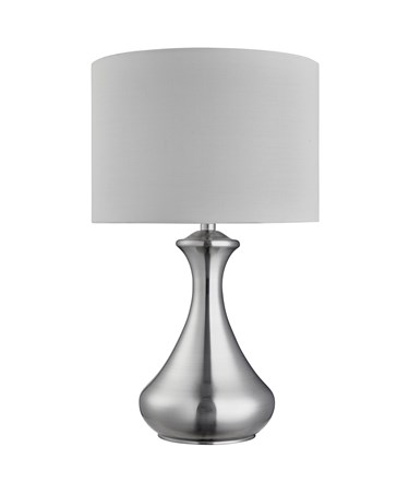 Searchlight Touch Lamp - Satin Silver - White Fabric Shade