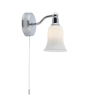 Searchlight Bathroom Wall Light - Chrome - White Glass Shade - Pull Cord