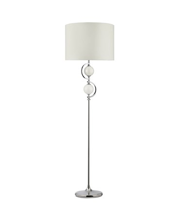 Searchlight Floor Lamp -  Chrome With Cream Glass Balls & Drum Shade